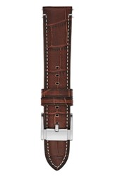 Men's Fossil 22Mm Croc Embossed Leather Watch Strap Brown Silver