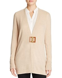 Magaschoni Leather Closure Cashmere Cardigan Chestnut Mouline
