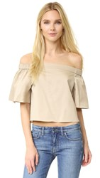 Tibi Off Shoulder Short Sleeve Blouse Sand Dollar