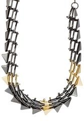 Alexis Bittar Mixed Metal Spike Necklace Gold