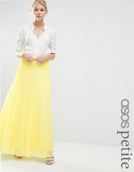 Asos Petite Pleated Maxi Skirt Lemon Yellow