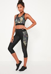 Missguided Active Black Tropical Print Cropped Sports Leggings