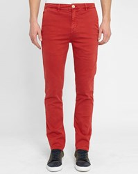 M.Studio Red Noa Fitted Cotton Chinos
