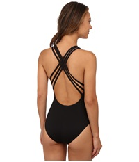 Lablanca Island Goddess Multi Strap Cross Back Mio One Piece Black Women's Swimsuits One Piece