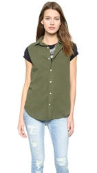 Current Elliott The Sleeveless Grad Shirt Army Green
