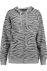 Zoe Karssen Printed Jersey Hooded Sweatshirt Gray