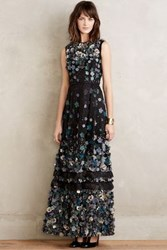 Anthropologie Ishika Floral Gown Black