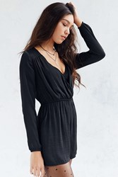 Alice And Uo Demy Long Sleeve Satin Romper Black