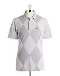 Lacoste Argyle Patterned Polo Silver