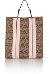 Valentino Leather Trimmed Canvas Tote Brown
