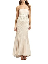 Sue Wong Strapless Gown Champagne
