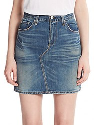 Rag And Bone Denim Mini Skirt Distressed Blue