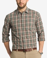 G.H. Bass And Co. Men's Trail Plaid Long Sleeve Shirt Green Agave