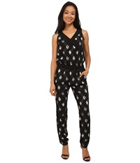 Nydj Milly Printed Tuxedo Jumpsuit Woodblock Batik Women's Jumpsuit And Rompers One Piece Black