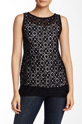 Kensie Lace Knit Tank Black