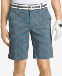 Izod Men's Plaid Golf Shorts Blue Grey Plaid