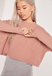 Missguided Ribbed Pocket Front Sweat Pink Red