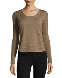 Alberto Makali Long Sleeve Studded Sweater Olive Green