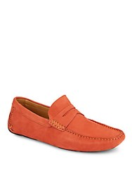 Saks Fifth Avenue Suede Penny Drivers Orange