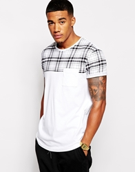 Asos T Shirt With Check Print Yoke And Rolled Sleeve Skater Fit White