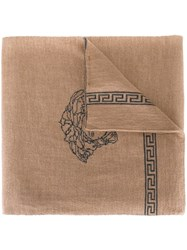 Versace Medusa Greca Scarf Nude And Neutrals