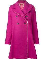 No21 Double Breasted Coat Pink And Purple