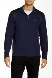 Calvin Klein Long Sleeve Q Zip Solid Mock Neck Sweater Blue