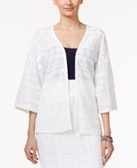 Alfani Three Quarter Sleeve Lace Jacket Only At Macy's Bright White