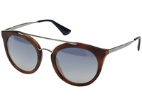 Prada 0Pr 23Ss Striped Light Brown Light Blue Silver Mirror
