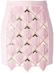 Balmain Tassel Panel Skirt Pink And Purple