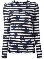 Proenza Schouler Falling Flower Print Striped T Shirt Black