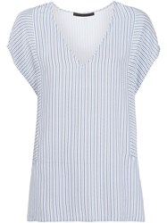 Jenni Kayne V Neck Striped T Shirt Blue