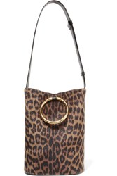 Stella Mccartney Bucket Leopard Print Faux Calf Hair And Faux Leather Shoulder Bag Leopard Print