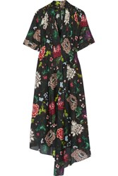 Adam By Adam Lippes Gathered Floral Print Cotton Voile Dress Black