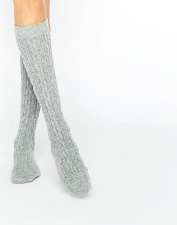 Johnstons Of Elgin Grey Cashmere Long Cable Socks Grey