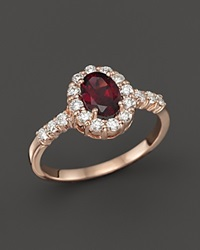 Bloomingdale's Rhodolite And Diamond Halo Ring In 14K Rose Gold Pink Red