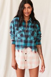 Urban Renewal Recycled Bleach Dipped Flannel Top Blue