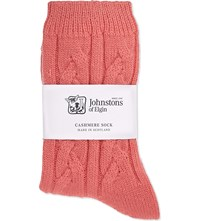 Johnstons Cable Knit Cashmere Socks Cancan