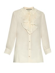Gucci Ruffle Detail Silk Blouse Cream