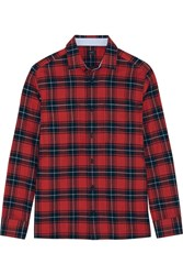 Joseph Iconics Checked Cotton Flannel Shirt Red
