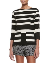 Derek Lam Boat Neck Striped Pique Tunic Black Natural