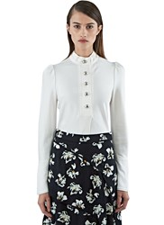 Proenza Schouler Long Satin Crepe Blouse White