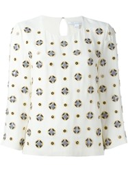 Diane Von Furstenberg Embellished Three Quarters Sleeve Blouse Nude And Neutrals