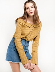 Pixie Market Yellow Check Off The Shoulder Shirt