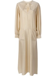 Alessandra Rich Pinstripe Blouse Dress Nude And Neutrals