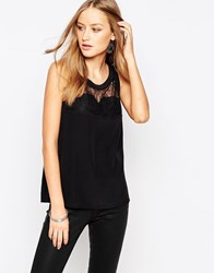 See U Soon Sleeveless Top With Eyelash Lace Insert Black