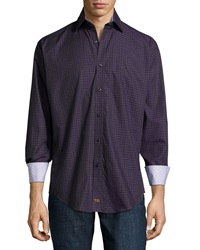 Thomas Dean Plaid Long Sleeve Sport Shirt Purple