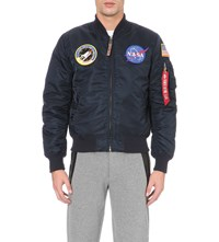 Alpha Nasa Ma 1 Satin Flight Jacket Rep Blue