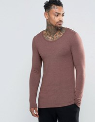 Asos Extreme Muscle Long Sleeve T Shirt With Scoop Neck In Brown Brown