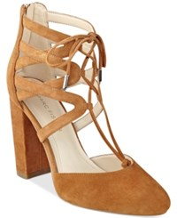 Marc Fisher Shellie Block Heel Lace Up Pumps Women's Shoes Brown Suede